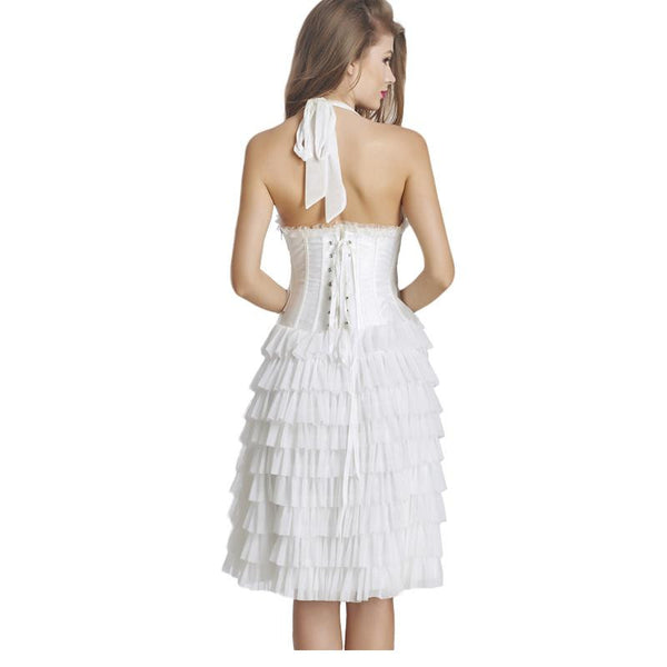 Bridesmaid Ruffles Halter Sexy Corset Midi Dress - Sins & Temptations