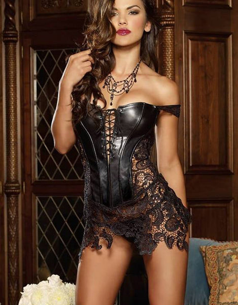 Faux Leather Sexy Corset For Women - Sins & Temptations