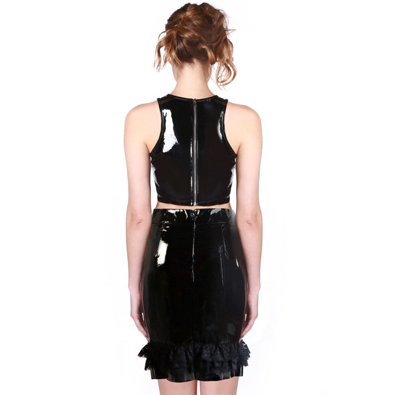 Sexy Lady Faux Vinyl leather PUNK Girl Crop Top And Skirt - Sins & Temptations
