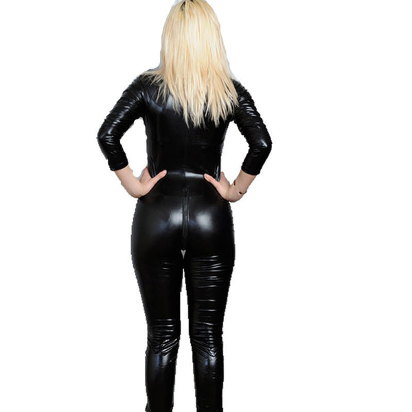 Black Latex Erotic Catsuit Zip Front Costume - Sins & Temptations