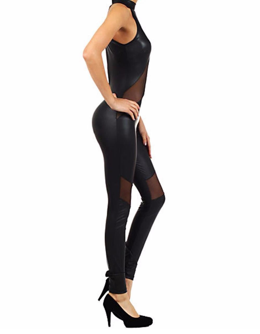 Sexy Faux Leather Catsuit Jumpsuit - Sins & Temptations