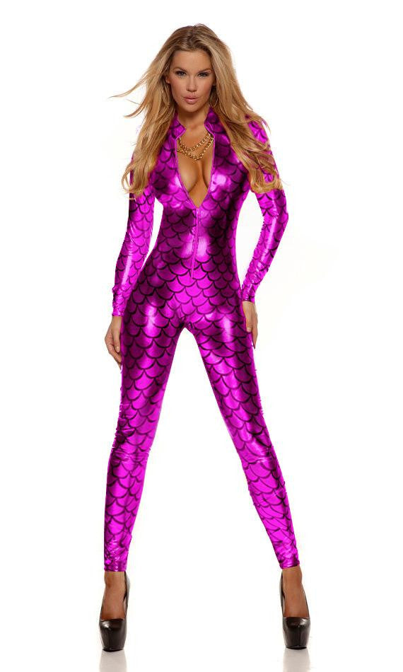Sexy Metallic Fish Scales Mermaid Costume / Catsuit - Sins & Temptations