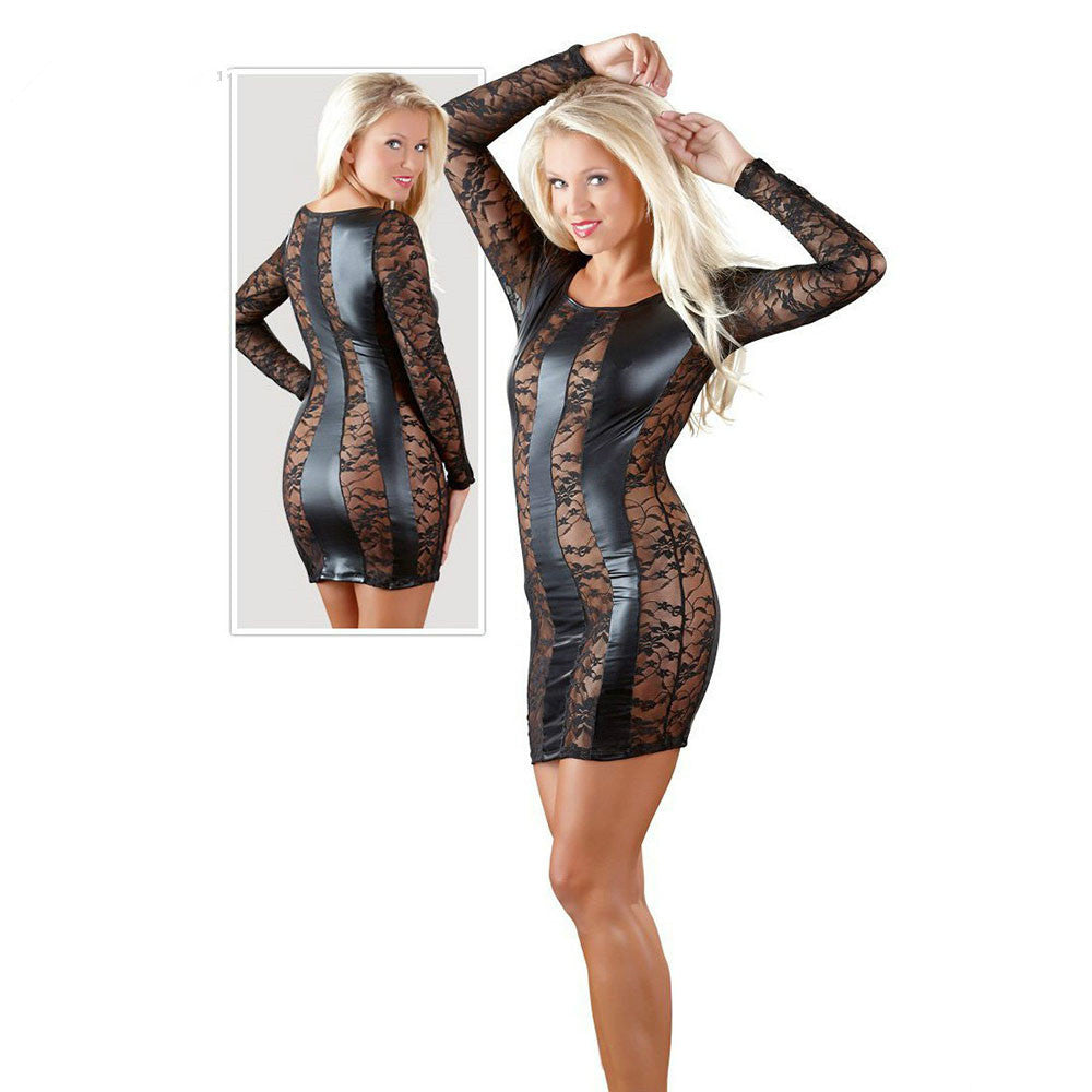 Black Long Sleeve Floral Mesh Faux Leather Dress - Sins & Temptations