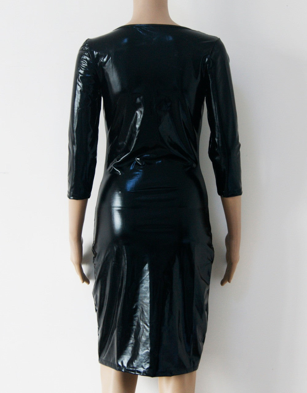 Mesh Long Sleeve Club Fascinating and Charming Black Faux Leather Dress - Sins & Temptations