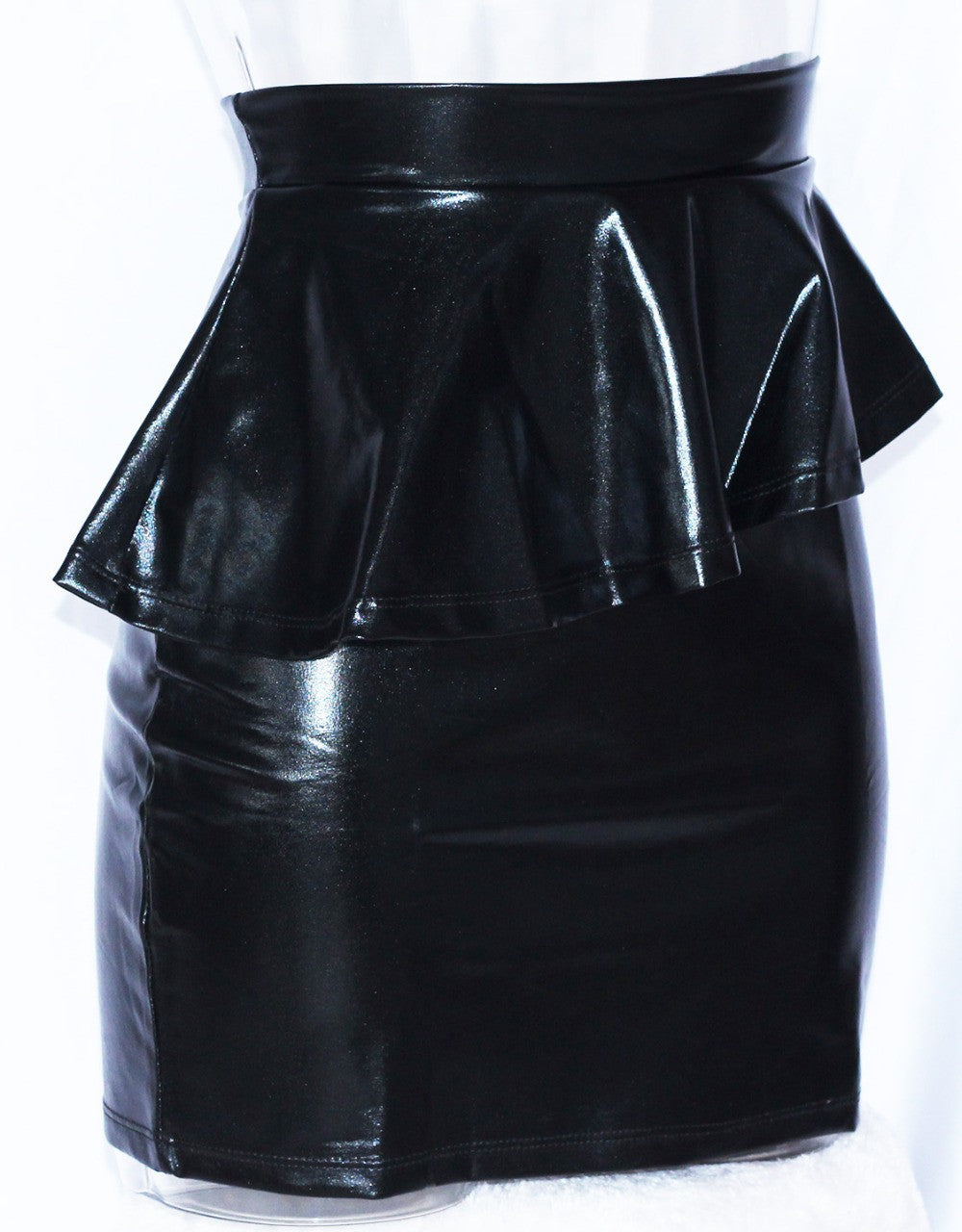 Black Faux Leather Asymmetrical Peplum Mini Casual Skirt - Sins & Temptations