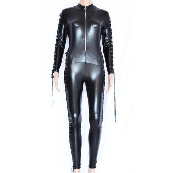 Black Catwomen Zentai Catsuit Costumes Vinyl Leather - Sins & Temptations