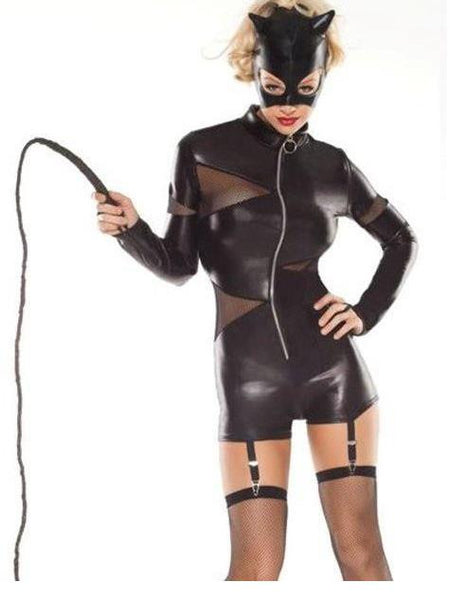 Leather Cat women Cosplay Costume Women Leather Dress - Sins & Temptations