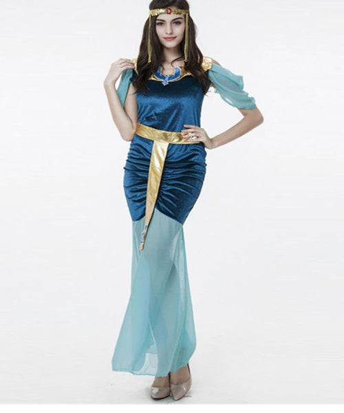 Attractive Women Gypsy Fancy Dress Blue Greek Goddess - Sins & Temptations