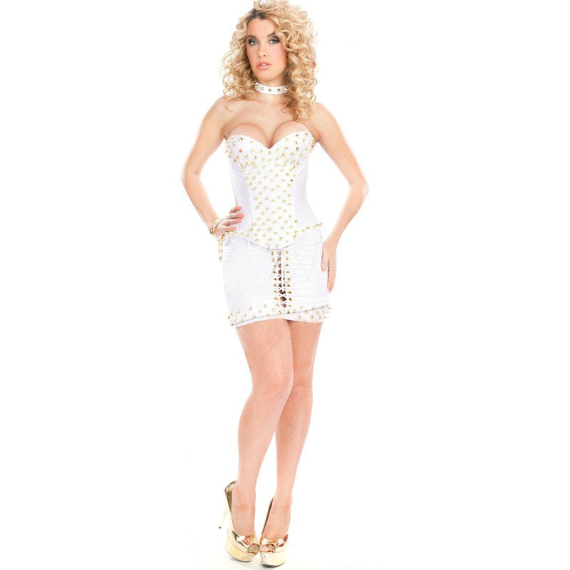 Solid White Rivet Strapless Mini Short Club Dress - Sins & Temptations