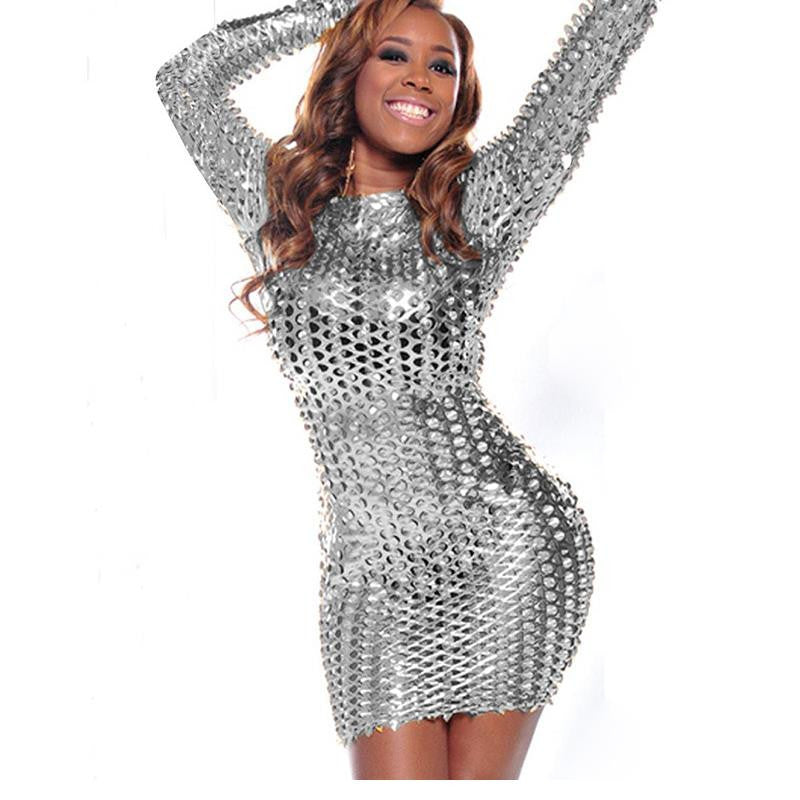 Silver gold black Long sleeve Dress Metallic Clubwear - Sins & Temptations