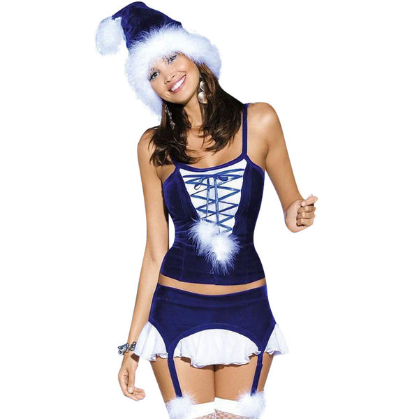 Hot Blue Santa Dress New Year Robe 3 Piece Blue Christmas Costume - Sins & Temptations