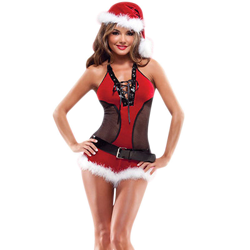Women Christmas Sexy Halter Teddy Christmas Lingerie Costume - Sins & Temptations