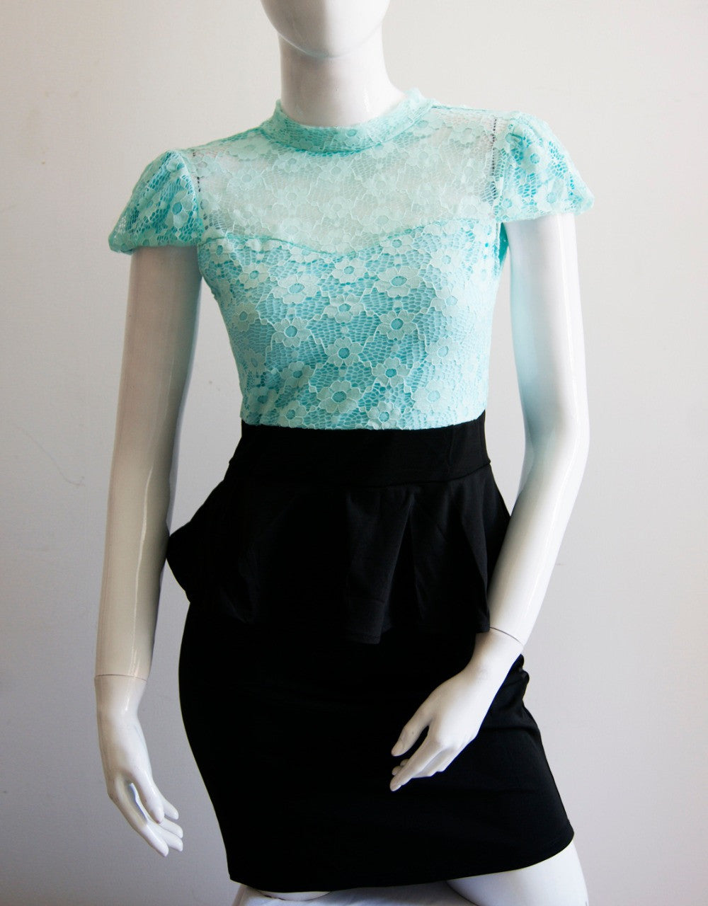 Peplum Lace Dress High Waist Casual Office Work Summer - Sins & Temptations