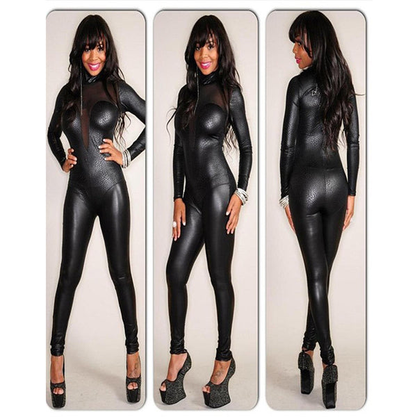 Black Bodysuit Club Mesh Long Sleeve Vinyl Leather Catsuit Playsuit - Sins & Temptations