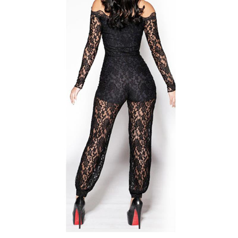 Hot Sale Summer Sexy Women Black Lace Strapless Long Sleeve Jumpsuit - Sins & Temptations