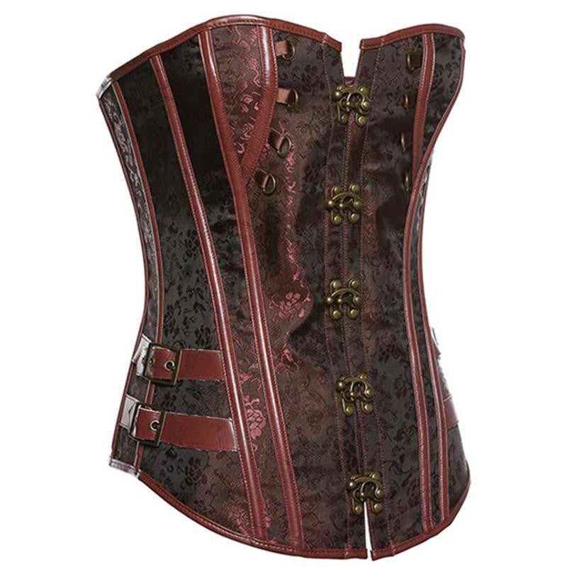 Brown Retro Sexy Gothic Corset Steel Bone Corset Top Steampunk - Sins & Temptations