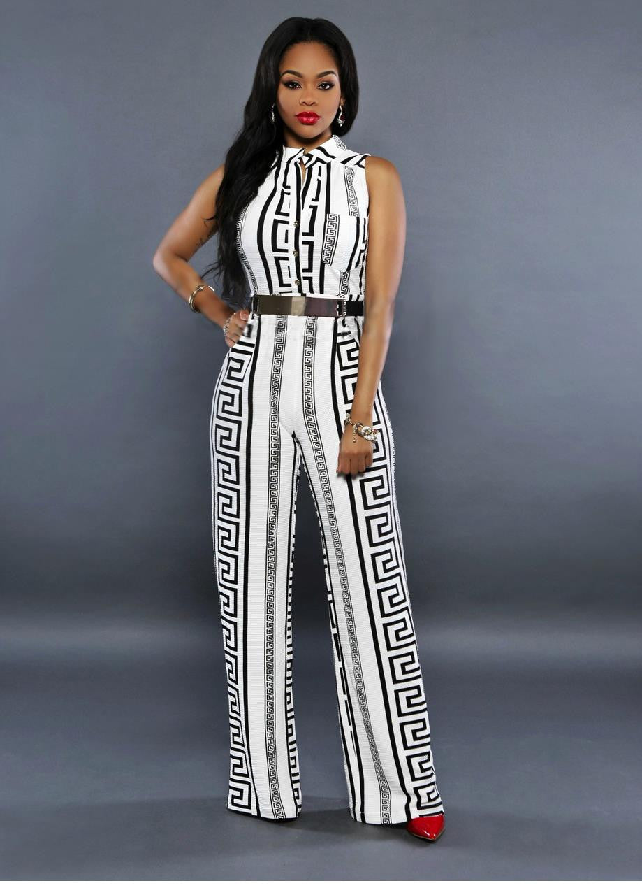 Black White Elegant Jumpsuit Romper Fashion Summer Women Work Clothing - Sins & Temptations