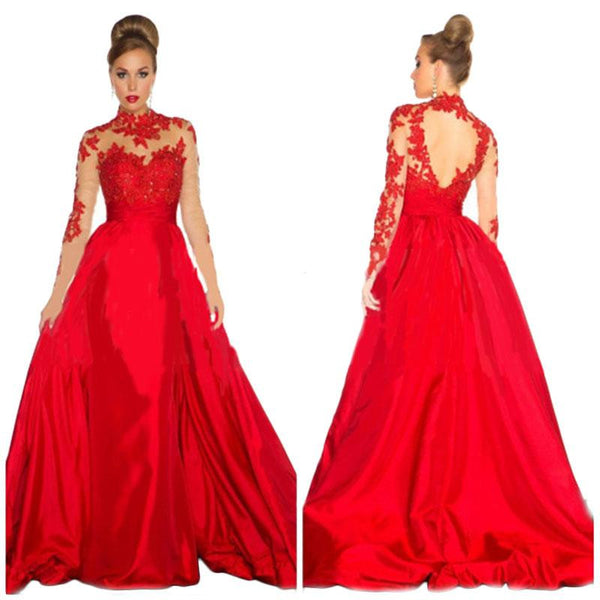 Maxi Red Lace High Waist Club Partywear Elegant Wedding Gown Dress - Sins & Temptations