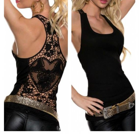 Back Cut Out Lace Solid Color Racerback Tank Top - Sins & Temptations