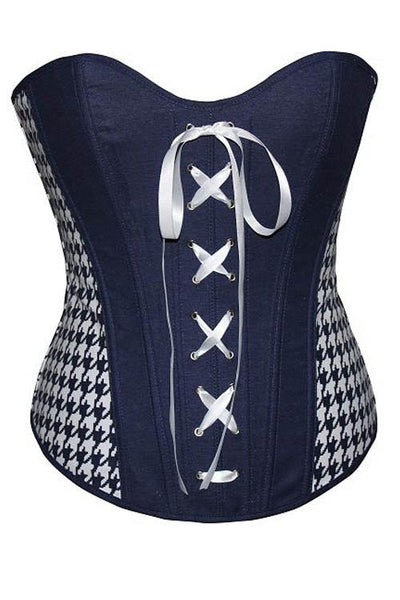 Denim Fashion Corset Gothic Steampunk Cincher Lace-Up Front - Sins & Temptations