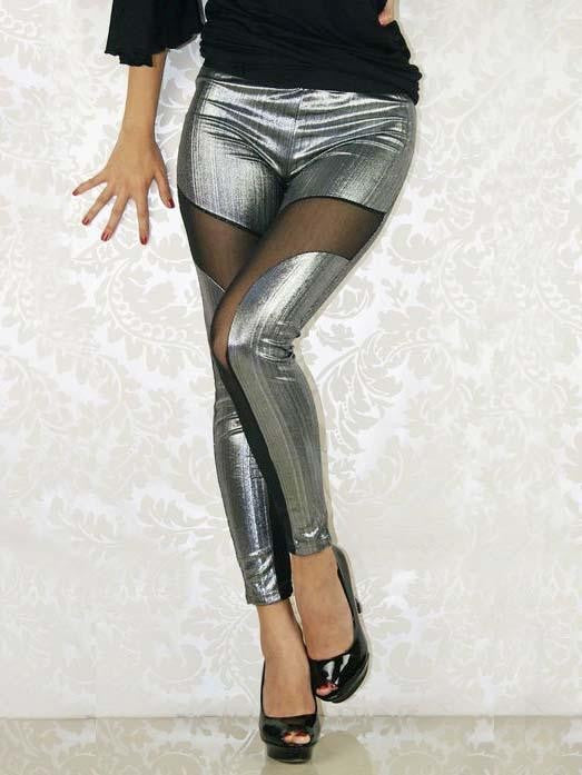 Mesh Leggings Women Gold Sliver Stripe Elastic Leggings - Sins & Temptations