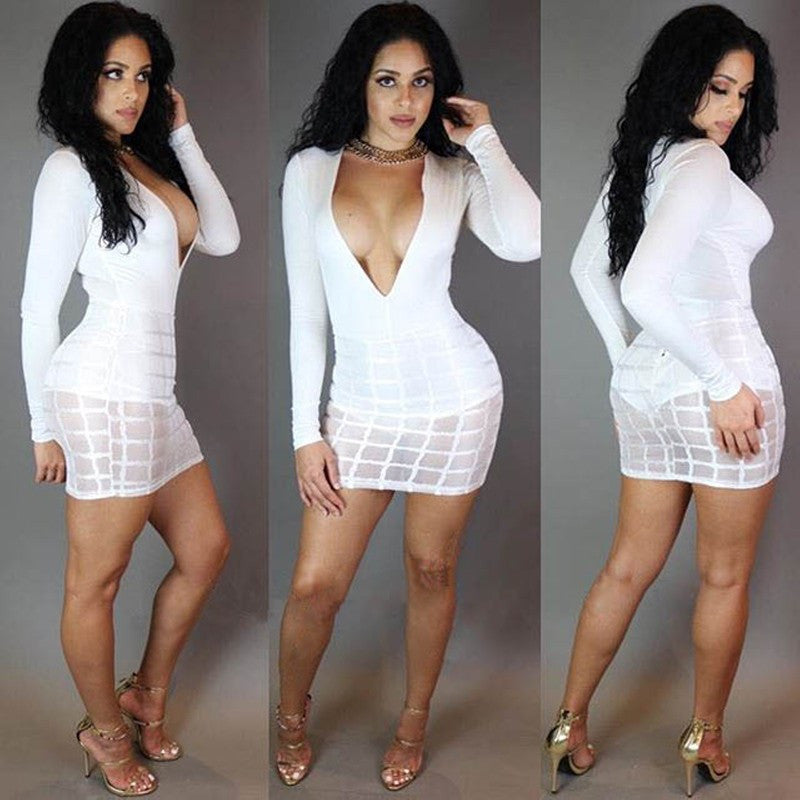 Deep V Night Club Dress, Hip Long Sleeve Mini Clubwear Dress - Sins & Temptations