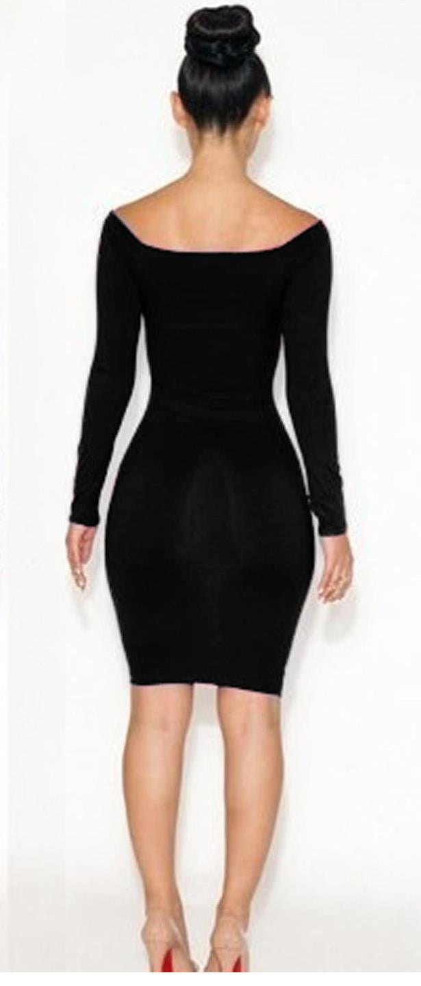 British Fashion Autumn Deep O-neck Long Sleeve Bodycon Midi Dress - Sins & Temptations