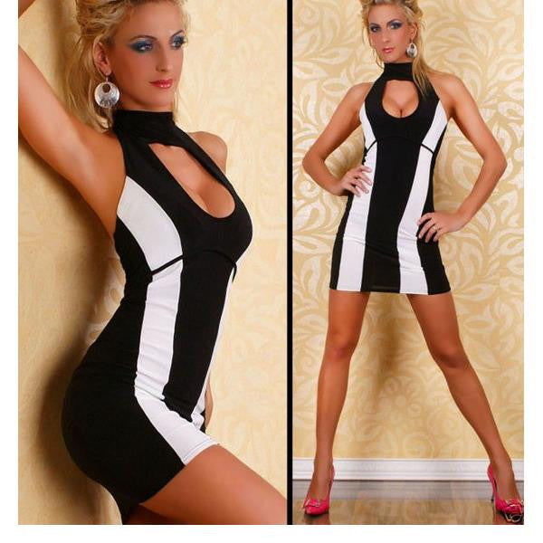 Black And White Patchwork Mini Short Halter Dress - Sins & Temptations