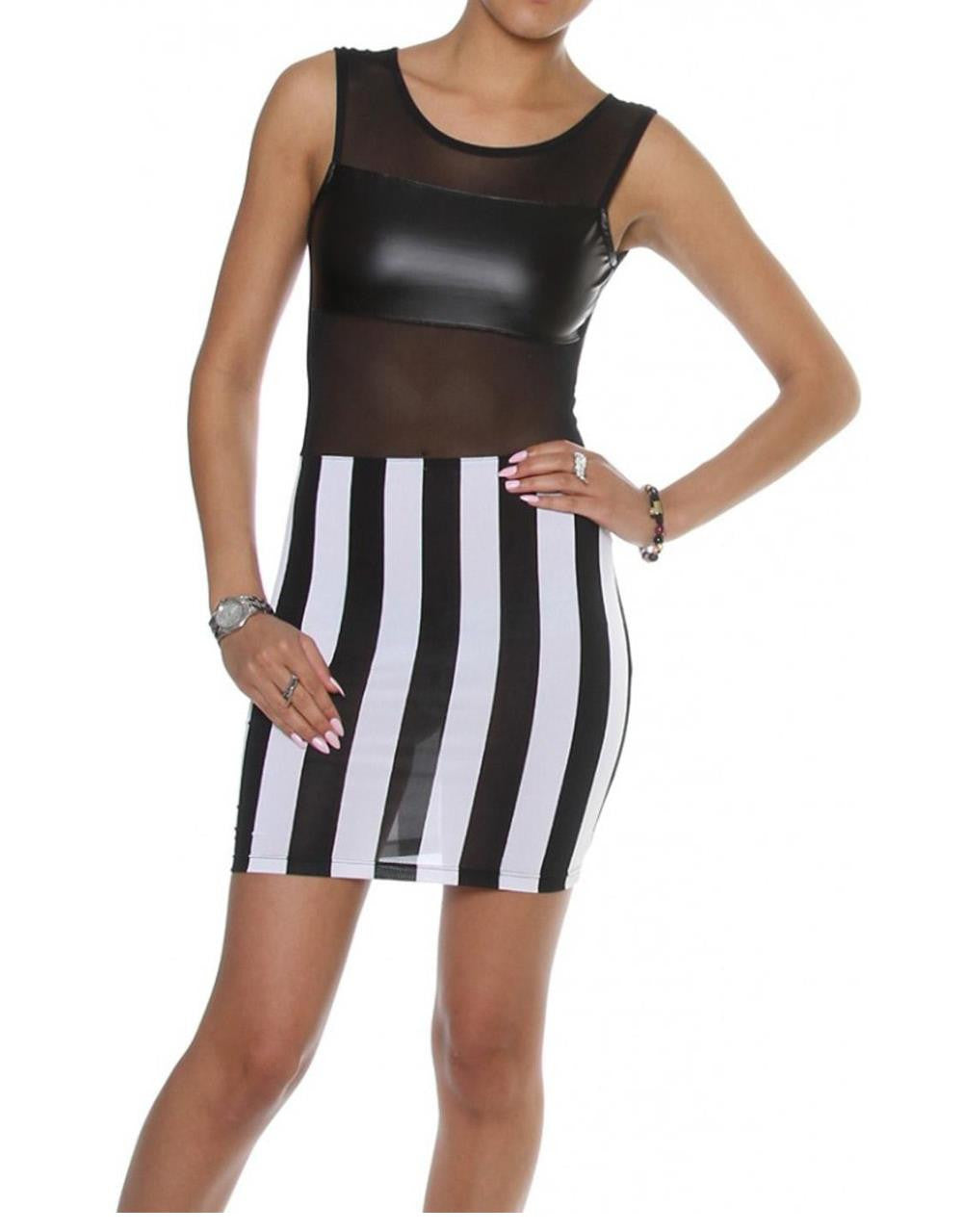 Hot Sale Fashion Sleeveless Black and white Mesh Inserted Leather Dress - Sins & Temptations