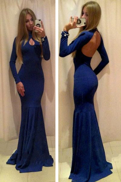 Blue Long Sleeve Floor-Length Style Hollow Out Elegant Women Club Dress Robe - Sins & Temptations