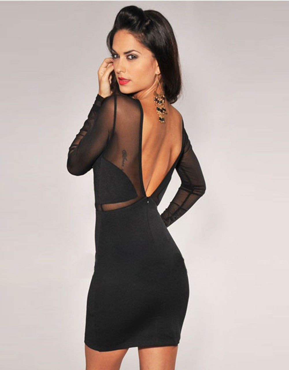 Mesh Long Sleeve Mini Party Dress - Sins & Temptations