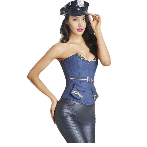 New Hot Police Cops Waist Corset Costume With Belt - Sins & Temptations