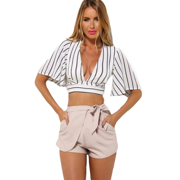 Fashion New Arrival Half Sleeve Solid Crop Tops Plunge V Neck Short Summer Clothing - Sins & Temptations