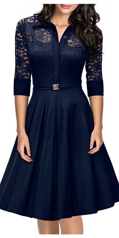 Women Black Blue Lace Dress Party Work Business Skater Dress - Sins & Temptations