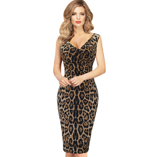 Women Sleeveless V Neck Leopard Pencil Dress Business Party Printed Bodycon Dress - Sins & Temptations