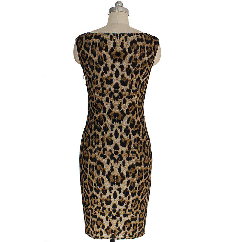 Women Sleeveless V Neck Leopard Pencil Dress Business Party Printed Bodycon Work Wear Dress - Sins & Temptations