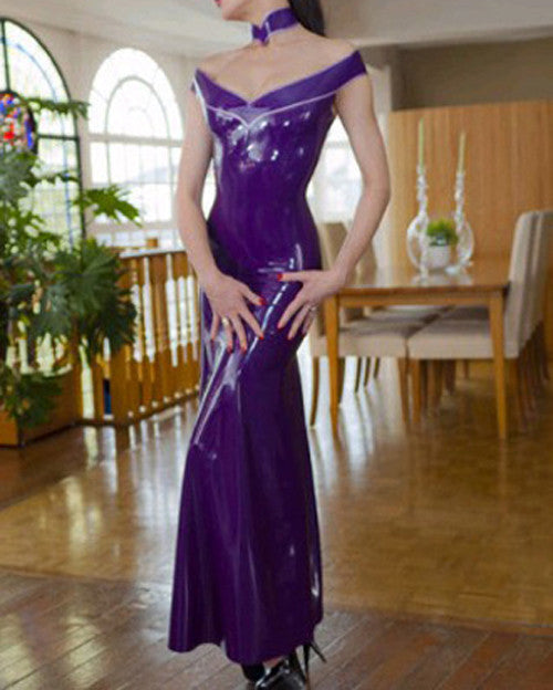 Pure Latex Celebrity Dress Purple Vestidos Prom Wear Long Gown - Sins & Temptations