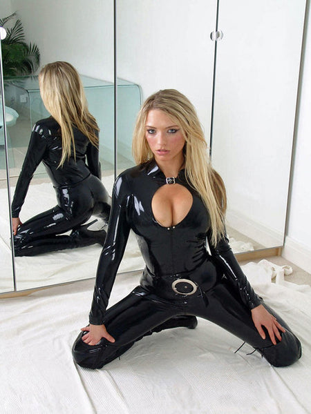 Fashion women Sexy Pure latex bodysuit with chic neckline design 100% natrual rubber - Sins & Temptations