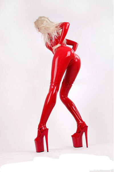 Fashion women 2015 sexy red Pure latex catsuit open breast with socks - Sins & Temptations
