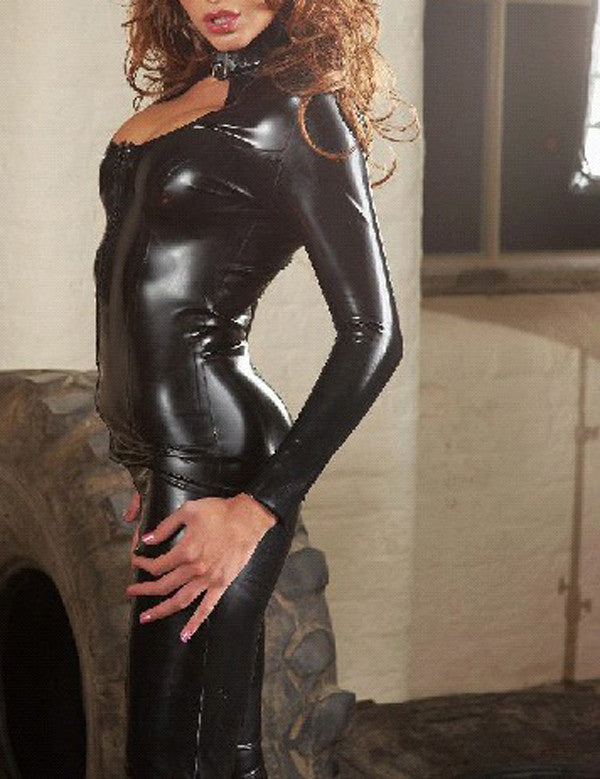 Pure Latex Black Sexy Jumpsuits Close Fitting Rubber Catsuits With Front Zipper Under Crotch - Sins & Temptations
