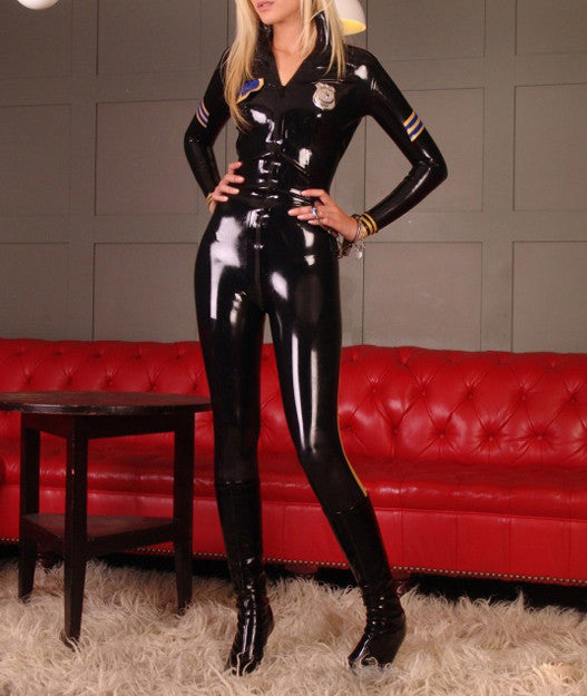 Pure Latex Catsuit Police uniform bodysuits rubber clothing for women - Sins & Temptations