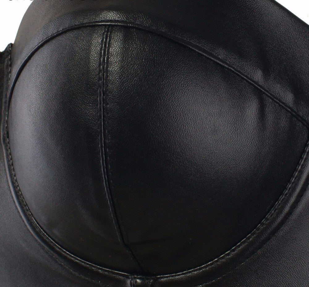 Cool Black PU leather Bralet Women's Bustier Bra Night Club Party Cropped Top - Sins & Temptations