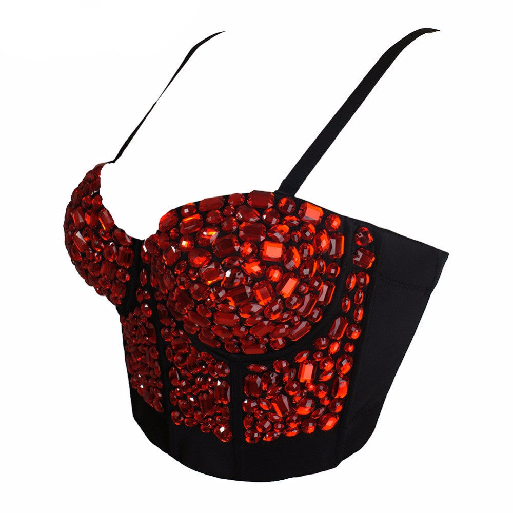 Custom Made Red Rhinestone Hand-made Pearls Bralete Bustier Bra Cropped Top - Sins & Temptations