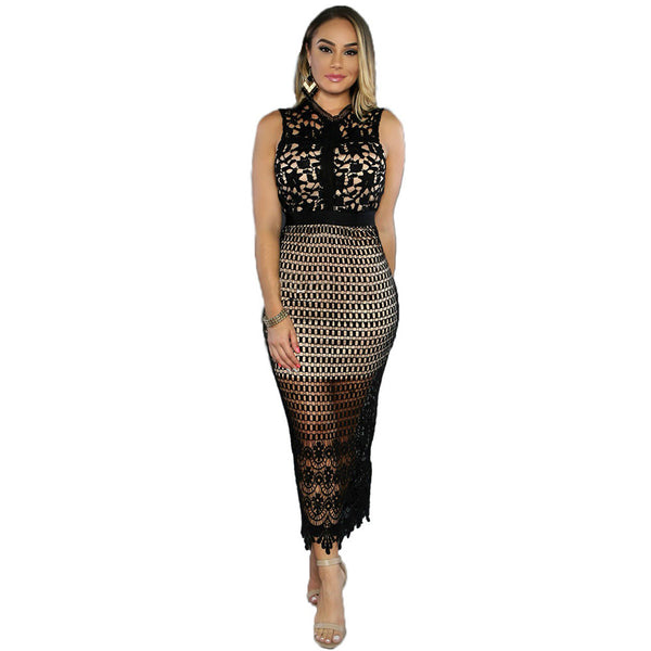 2017 New Summer Vintage Garment Slim Hollow Out Lace Bodycon Dress - Sins & Temptations