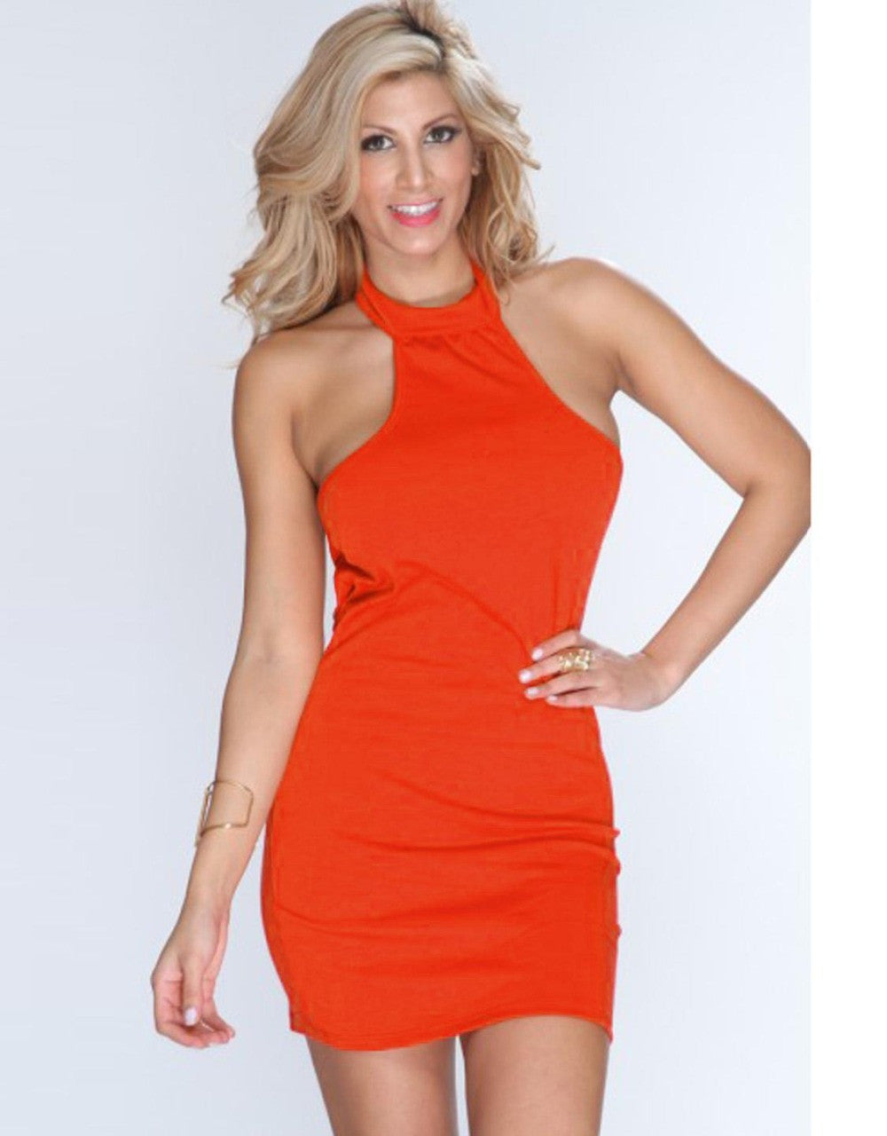 Pink Orange Halter Mini Short Dress Bodycon Dress - Sins & Temptations