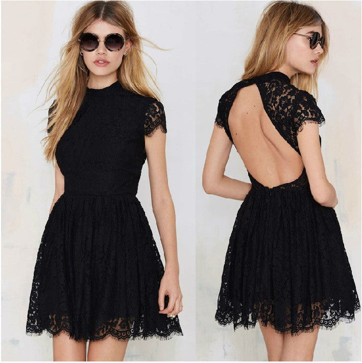 Lace Mini Cool Girl Hot Sale Elegant Turtleneck Backless Club Dress - Sins & Temptations
