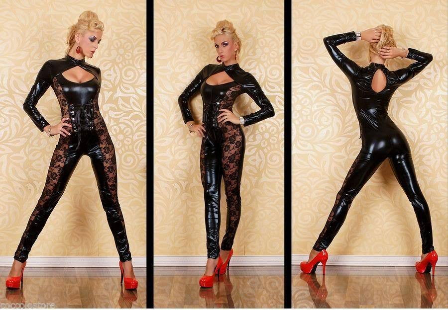 Women's Black Lace Faux Leather Solid Wet look Catsuit Clubwear - Sins & Temptations