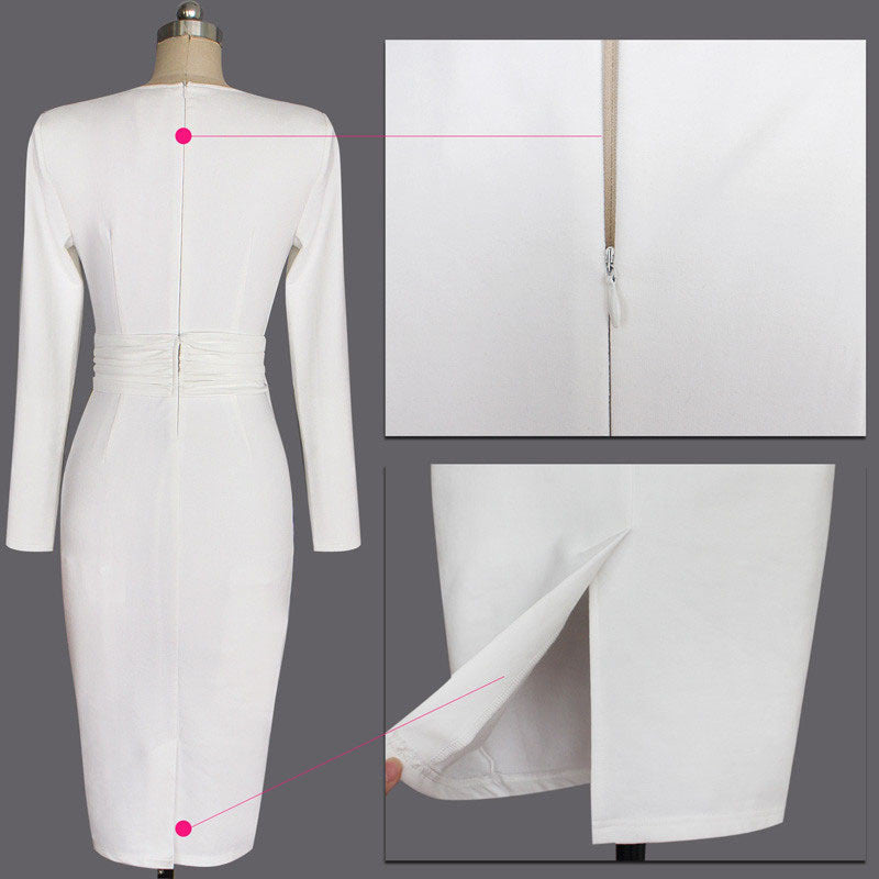 New White Work Wear Dress Business Party Evening Slim Long Sleeve O Neck Pencil Midi Dress - Sins & Temptations
