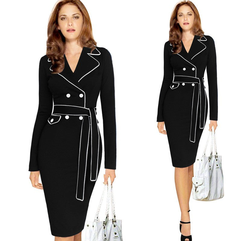 Elegant Lapel Notched Belted Dress Work wear Business Sheath Fitted Dress - Sins & Temptations