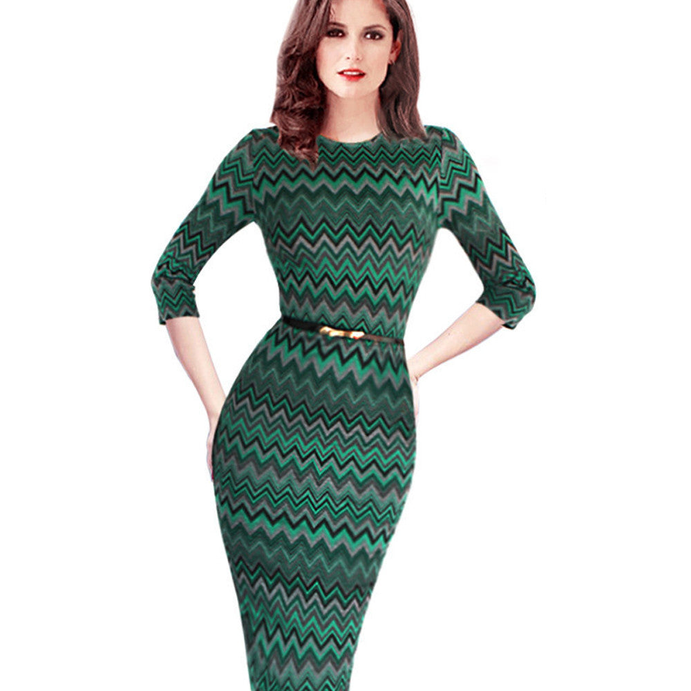 Women Causal Dress Work Wear Dress with Belt Party Half Sleeve Digital Printed Pencil Dress - Sins & Temptations